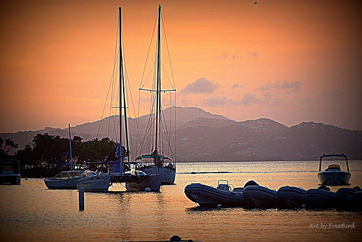 Cruz Bay at Sunset - Art by FreeBird