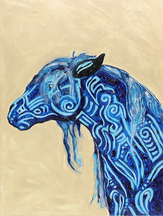 Tribal Longing Horse - Spellbound Art by Julia Vigil
