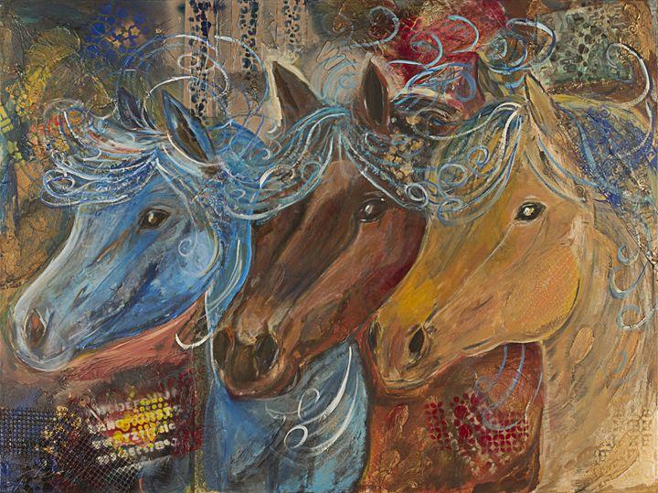 Three blue haired mares - Spellbound Art by Julia Vigil