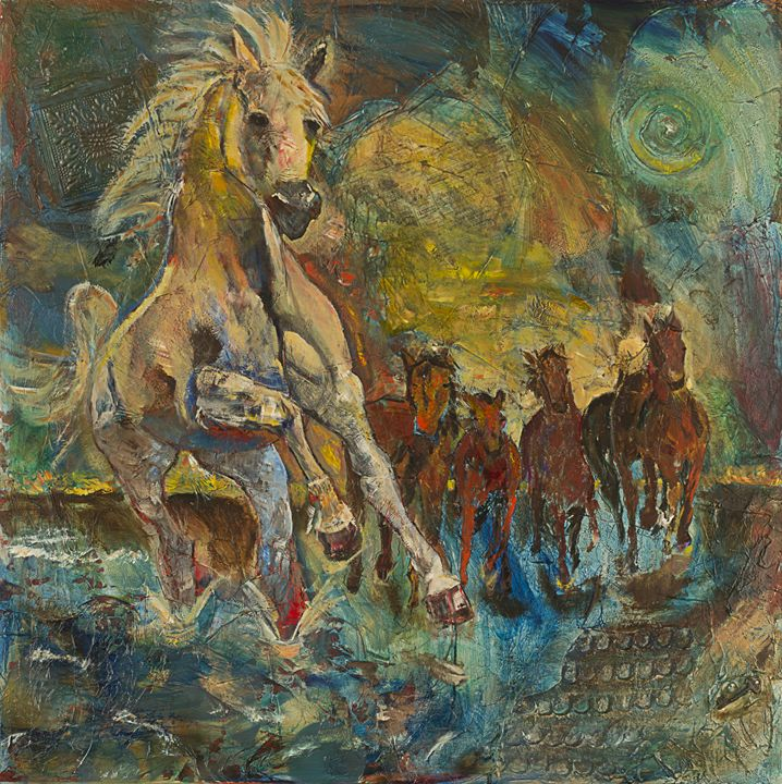 stampede at sunset - Spellbound Art by Julia Vigil