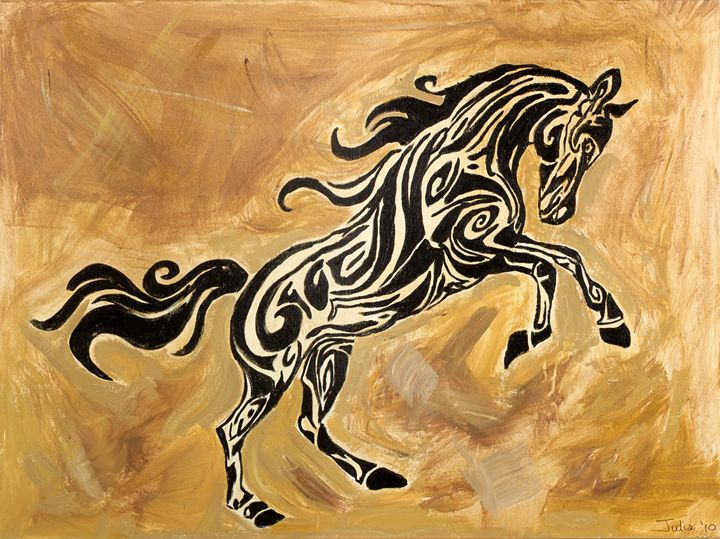 TRIBAL HORSE 1 - Spellbound Art by Julia Vigil