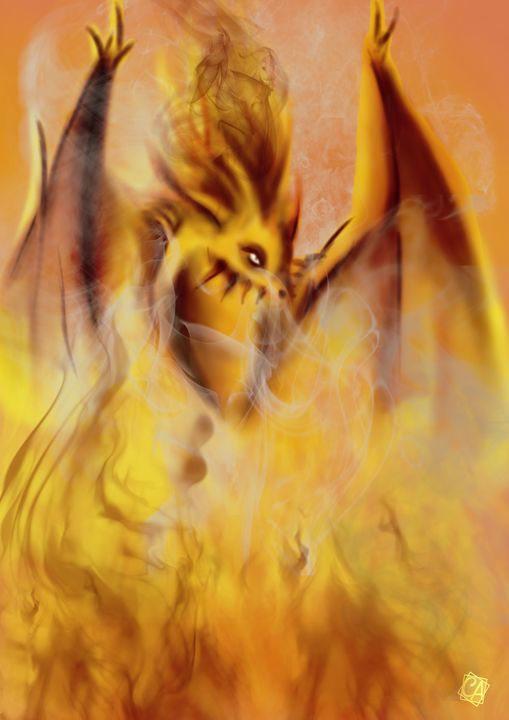 Dragon In Flames - Creation Art Graphic