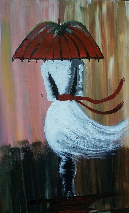 Lady in white walking in the rain - Art by WAT