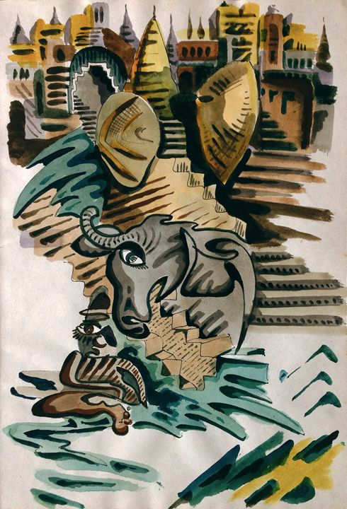 Holy cow, holy man down at the ghats - peter menne
