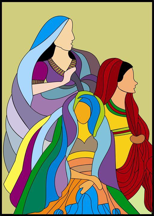 Folk Ladies from Rajasthan - Artwork