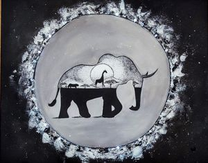 LED light Elephant Painting