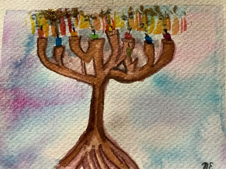 Menorah with faces 3 - Nancy Eisenbise