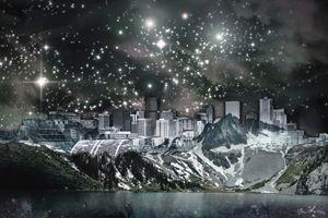 DENVER SKYLINE MOUNTAINS (TWILIGHT)