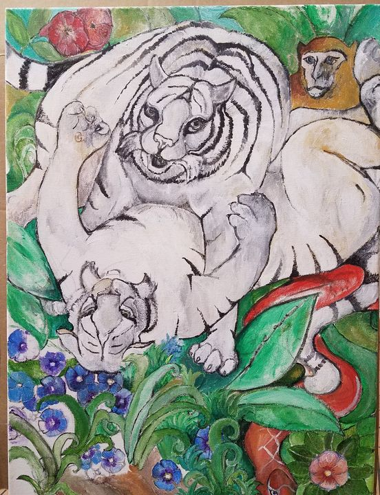 Frolicking white tigers - Christine Canizaro