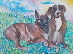 Painting of 2 dogs
