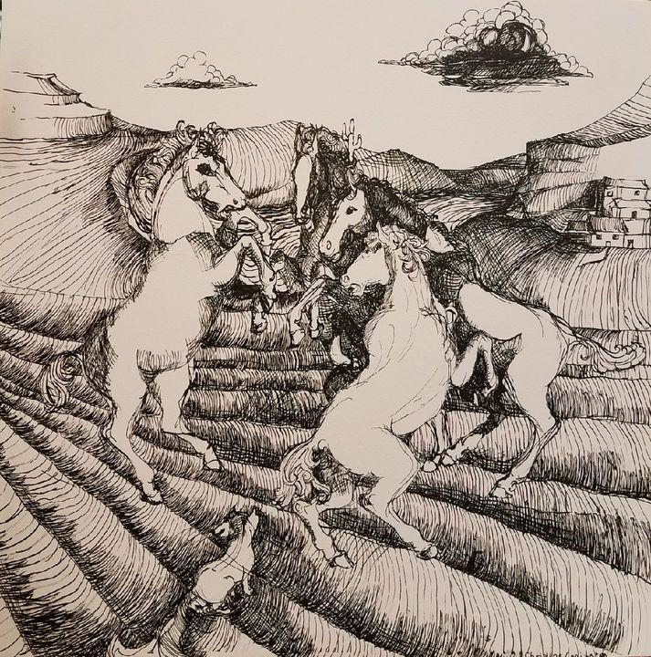Fox and horses - Christine Canizaro