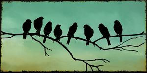 Black birds on a twig