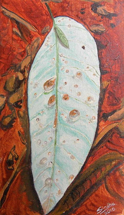 Raindrops on a leaf - Sindhu's Paintings