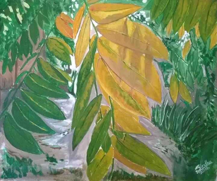Autumn leaves in the sun - Sindhu's Paintings