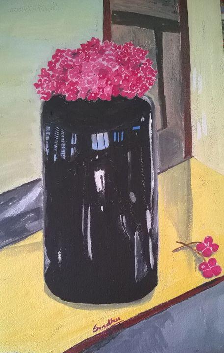 Pink flowers in a black vase - Sindhu's Paintings