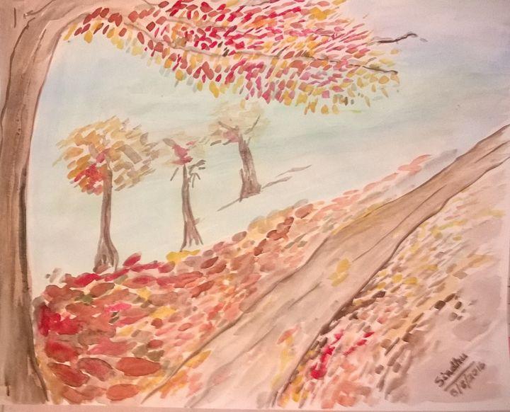 Red leaves -2 - Sindhu's Paintings