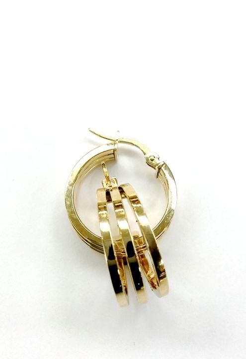 14k Gold 3 Bar Hoop Earrings - Dizzy The Artist Fine Art & Accessories