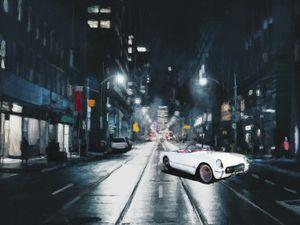 1954 Corvette in the dark