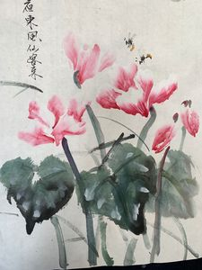 Chinese painting of flowers and bees