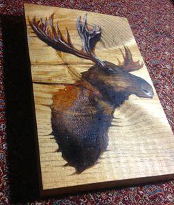 Moose Head, Oil on Wood