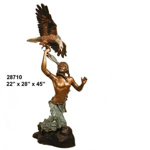 INDIAN WITH EAGLE ON MARBLE BASE