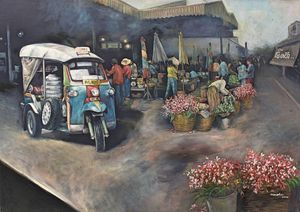 Old Painting Of Warorot Market