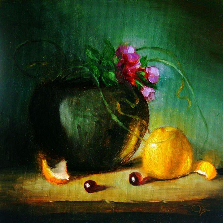 still life_051 orange with flowers - JK