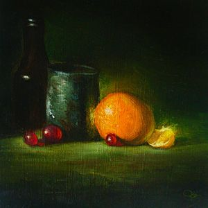orange with bottle
