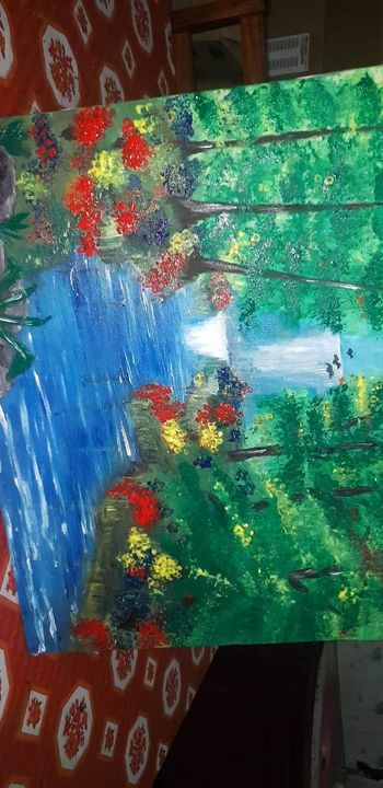 forest waterfall sale - painting creations