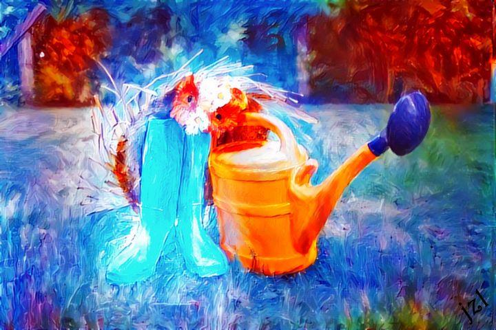 Rain Boots & Watering Can - Artists Korner