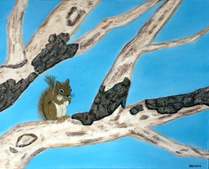 SQUIRREL ON STRIPPED OAK BRANCH - Leslie Dannenberg, Oil Paintings