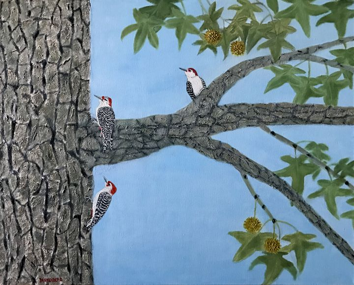 WOODPECKERS ON SWEET GUM TREE - Leslie Dannenberg, Oil Paintings
