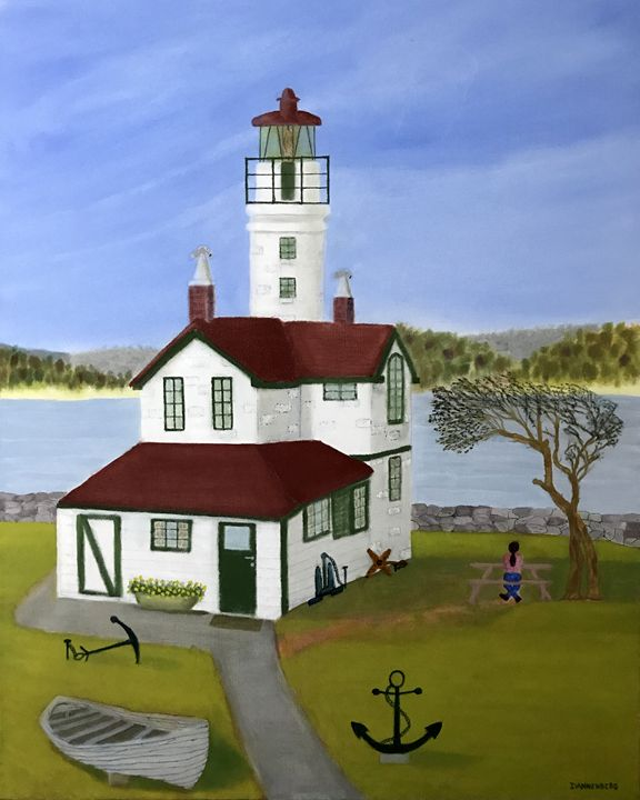 ANCHOR ISLAND LIGHTHOUSE - Leslie Dannenberg, Oil Paintings