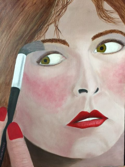 APPLYING MAKE UP - Leslie Dannenberg, Oil Paintings