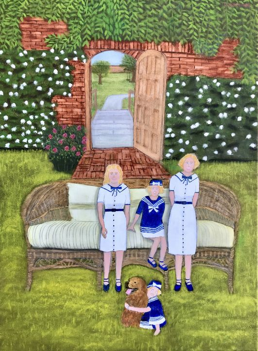 FOUR SISTERS IN THE GARDEN - Leslie Dannenberg, Oil Paintings