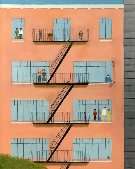 PARADE WATCHERS - Leslie Dannenberg, Oil Paintings