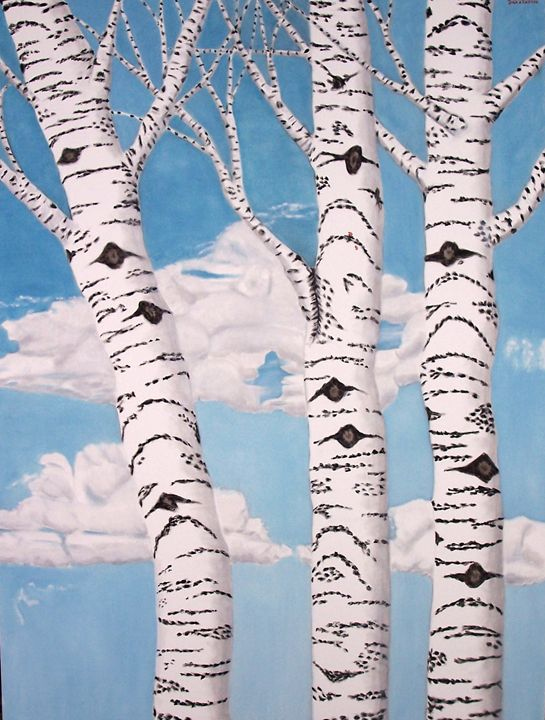 BIRCH TREES - Leslie Dannenberg, Oil Paintings