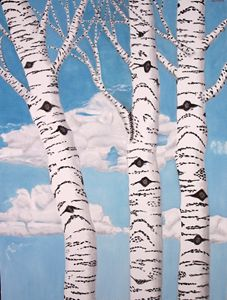 BIRCH TREES, LARGE ORIGINAL OIL