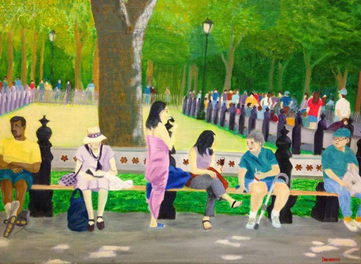 CENTRAL PARK SUNDAY - Leslie Dannenberg, Oil Paintings