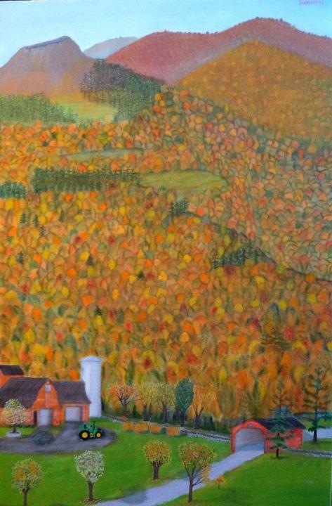 AUTUMN MOUNTAINS (LARGE ORIGINAL OIL - Leslie Dannenberg, Oil Paintings