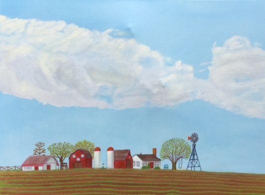 FARM II SPRING - Leslie Dannenberg, Oil Paintings