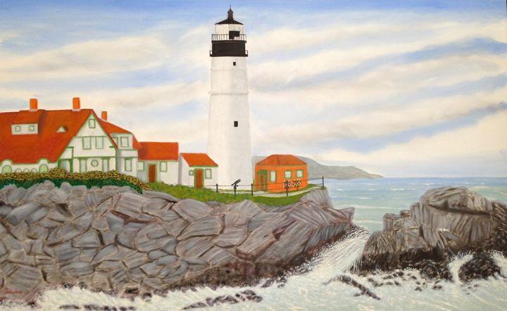 PORTLAND LIGHTHOUSE (LARGE ORIGINAL) - Leslie Dannenberg, Oil Paintings