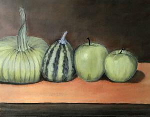 STILL LIFE IN GREEN - Leslie Dannenberg, Oil Paintings