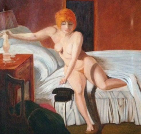THREE AM PHONE CALL (AFTER KOCH) - Leslie Dannenberg, Oil Paintings