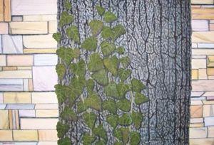 BACKYARD TREE WITH VINES - Leslie Dannenberg, Oil Paintings