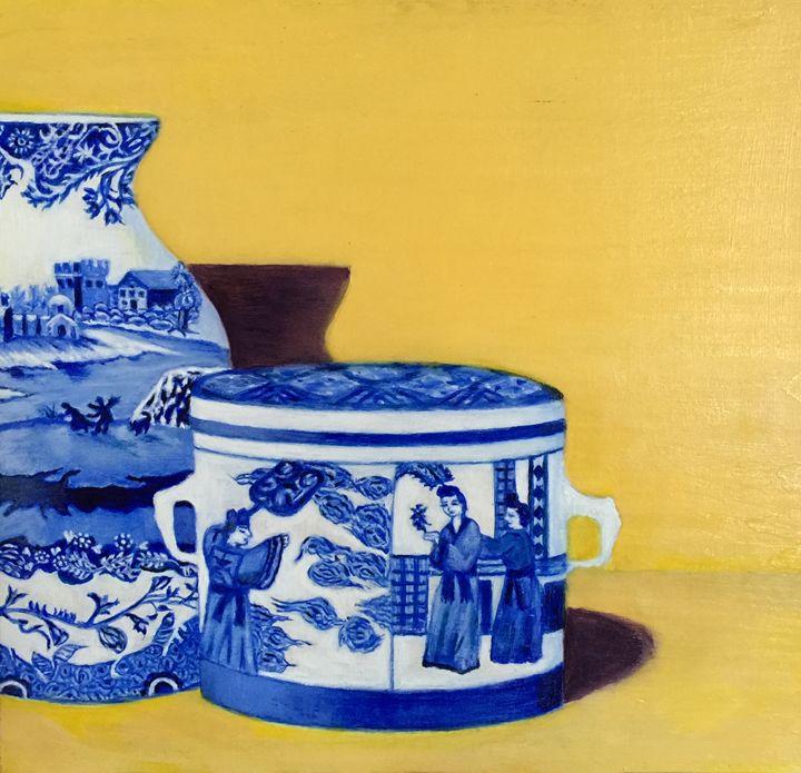 BLUE PORCELAIN - Leslie Dannenberg, Oil Paintings