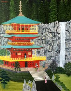 RED PAGODA GUESTS - Leslie Dannenberg, Oil Paintings