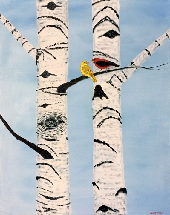 TANAGER PAIR ON BIRCH TREE - Leslie Dannenberg, Oil Paintings