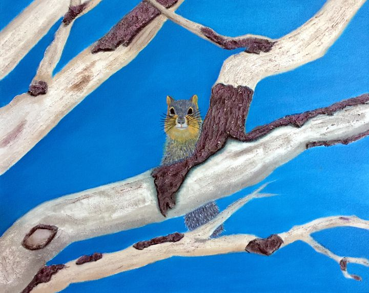 OAK BRANCHES WITH FOX SQUIRREL - Leslie Dannenberg, Oil Paintings