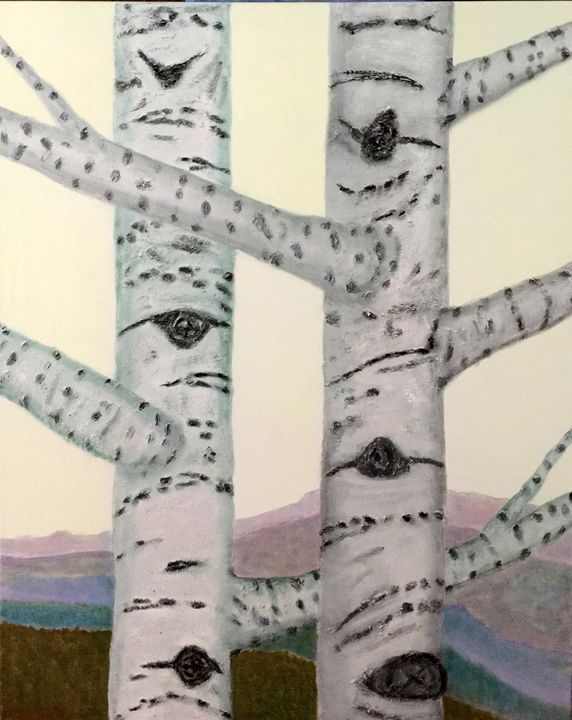 BIRCH TREES IN THE  MOUNTAINS - Leslie Dannenberg, Oil Paintings